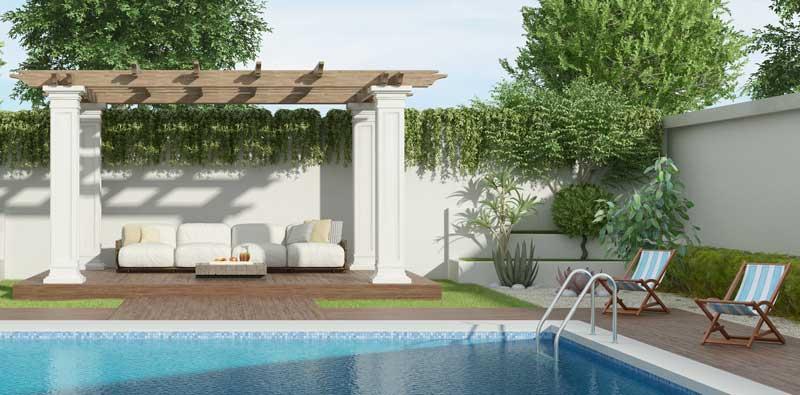 luxury gazebo with large pool